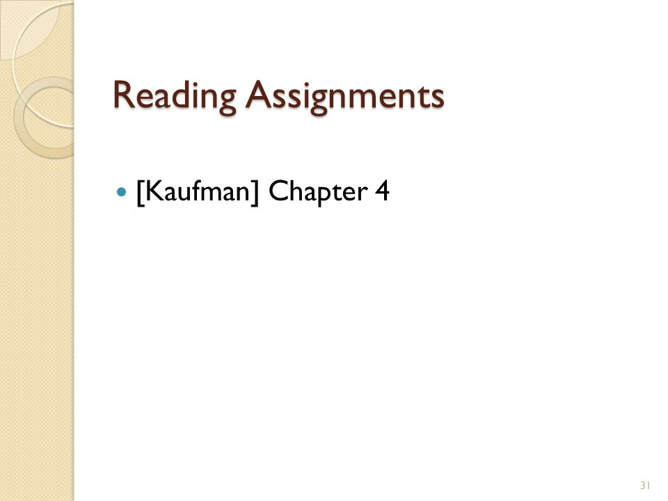 Reading Assignments [Kaufman] Chapter 4